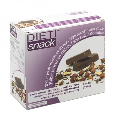 Chocolate crunch bar with hazelnuts